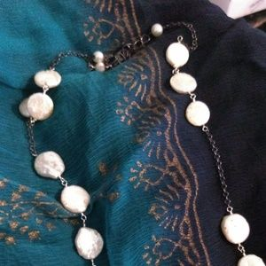 Vintage Jewelry - Sterling Silver Coin Pearl Necklace
